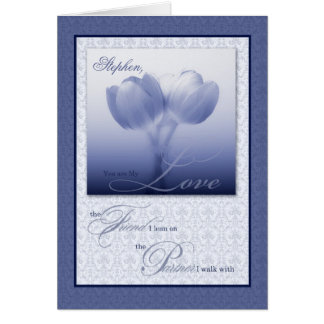 Life Partner Wedding Anniversary Blue Tulips Greeting Card