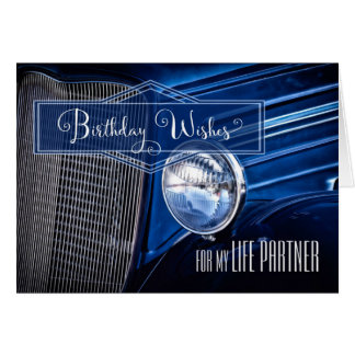 Life Partner's Birthday - Denim Blue Classic Car Card