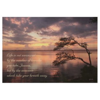 'Life' Personalized Quote Purple Sunset 29x19 Wood Poster