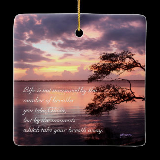 """Life"" Personalized Quote Sunset Mirror Hanger / Ceramic Ornament"
