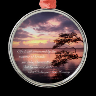"""Life"" Personalized Quote Sunset Mirror Hanger / Metal Ornament"