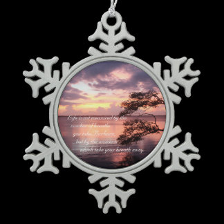 """Life"" Personalized Quote Sunset Mirror Hanger / Snowflake Pewter Christmas Ornament"