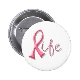 Life Pink Ribbon Button
