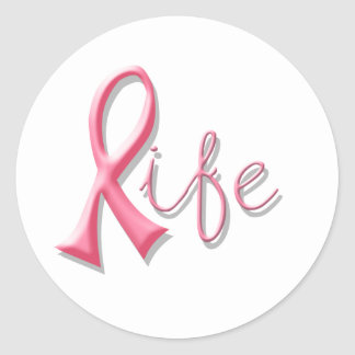Life Pink Ribbon Classic Round Sticker