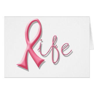 Life Pink Ribbon Greeting Cards