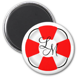 Life Preserver-Monogram 2 Inch Round Magnet