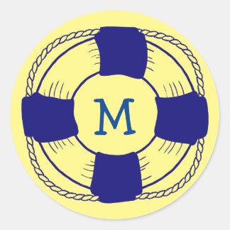 Life Preserver with Monogram Classic Round Sticker