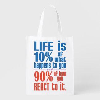 LIFE QUOTE custom reusable bag Reusable Grocery Bag