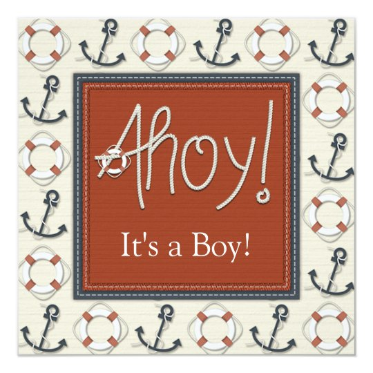 Life Ring Anchor Boys Nautical Baby Shower Card