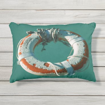 Beach Themed Life Ring Art Photograph Outdoor Pillow