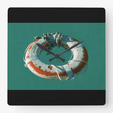 Beach Themed Life Ring Art Photograph Square Wall Clock