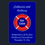 """Life Ring Custom Vert. Stateroom Door Marker Magnet<br><div class=""""desc"""">Orange and blue life Preserver Cruise Ship Cabin Door Marker.  Personalize with your name,  ship name,  itinerary,  and sailing date - substitute any text you like.   A thoughtful bon voyage gift!</div>"""