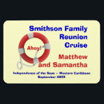 """Life Ring Family Cruise Cabin Door Marker Magnet<br><div class=""""desc"""">Mark your cabin door with this personalized cruise magnet,  so that others in your group or party can find you easily.  Makes a great little after the cruise memento,  too.   See our other personalized products in this line,  including shirts,  hats,  and name pins.</div>"""
