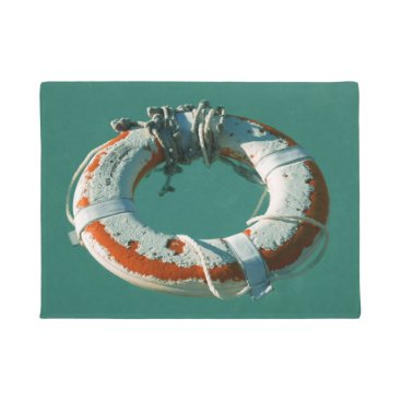 Beach Themed Life Ring Photograph Doormat