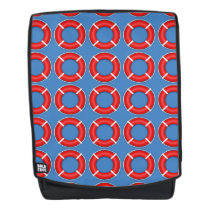 Life Rings on Blue Pattern Backpack