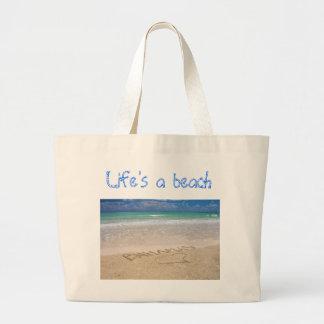 Life's a beach canvas bags