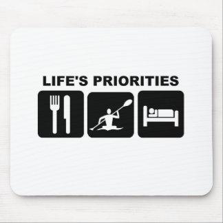 Life s priorities kayacking mousepads