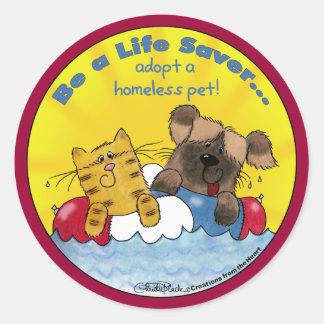 Life Saver Adopt Homeless Pets Classic Round Sticker