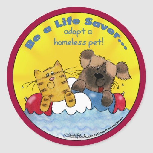 Life Saver Adopt Homeless Pets Round Stickers
