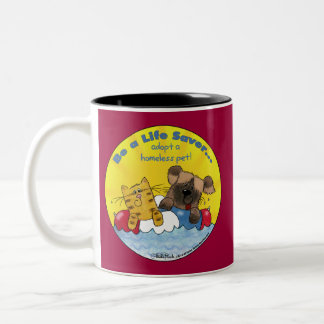 Life Saver Adopt Homeless Pets Two-Tone Coffee Mug