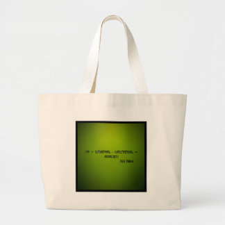 life + situations-expectation= mediocrity jumbo tote bag