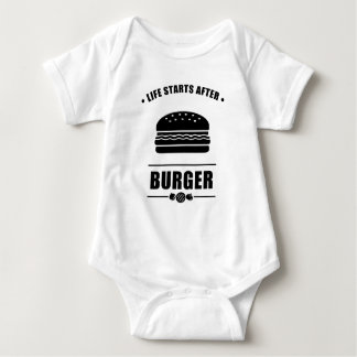 Life Starts After BURGER_NO BG Baby Bodysuit