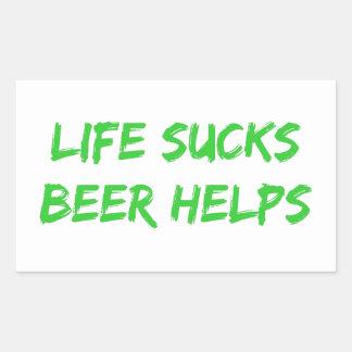 Life Sucks Beer Helps Rectangular Sticker