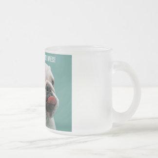 Life Sucks funny bulldog custom glass mugs