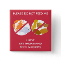 Life Threatening Fish and Nuts Allergy Pin, Button