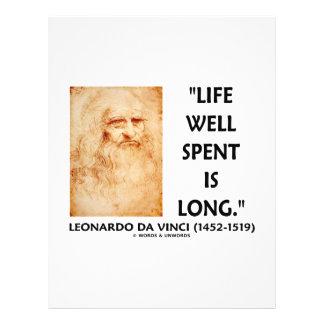 """Life Well Spent Is Long (Leonardo da Vinci Quote) 8.5"""" X 11"""" Flyer"""
