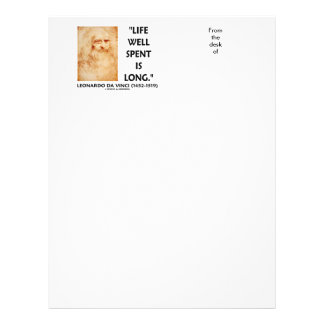 Life Well Spent Is Long Leonardo da Vinci Quote Letterhead