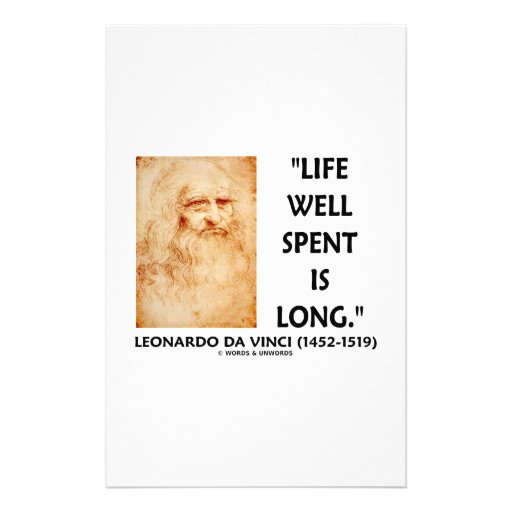 Life Well Spent Is Long (Leonardo da Vinci Quote) Personalized Stationery