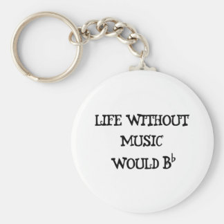 Life Without Music Basic Round Button Keychain