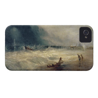 Lifeboat and Manby Apparatus going off to a strand iPhone 4 Case-Mate Case