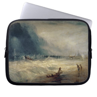 Lifeboat and Manby Apparatus going off to a strand Laptop Sleeve