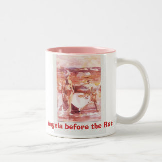 "lifeguard 013, ""Angela before the Race"" Two-Tone Coffee Mug"