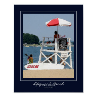 Lifeguard Beach Navy Border Poster