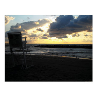 Lifeguard Chair against Lake Erie Sunset Postcard