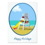 "Lifeguard Chair at Christmas 5"" X 7"" Invitation Card"