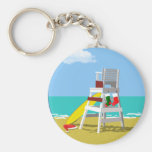 Lifeguard Chair at Christmas Basic Round Button Keychain