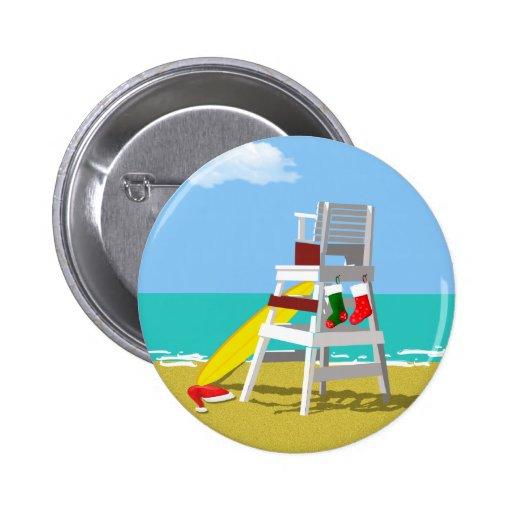 Lifeguard Chair at Christmas Pinback Buttons