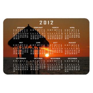 Lifeguard Hut at Sunset; 2012 Calendar Rectangular Photo Magnet