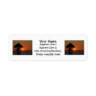 Lifeguard Hut at Sunset Label