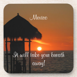 Lifeguard Hut at Sunset; Mexico Souvenir Beverage Coaster