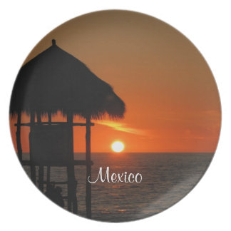 Lifeguard Hut at Sunset; Mexico Souvenir Dinner Plates