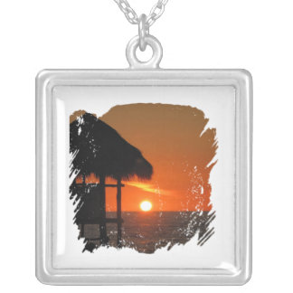 Lifeguard Hut at Sunset Personalized Necklace