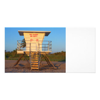Lifeguard shack on Florida beach picture Card