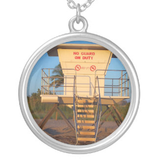 Lifeguard shack on Florida beach picture Round Pendant Necklace