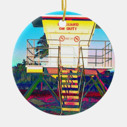 Lifeguard Shack to play with Double-Sided Ceramic Round Christmas Ornament