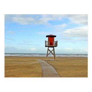 Lifeguard Stand on Empty Beach Postcard